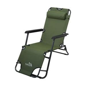 Zelené skladacie kempingové ležadlo/kreslo Cattara Comfort