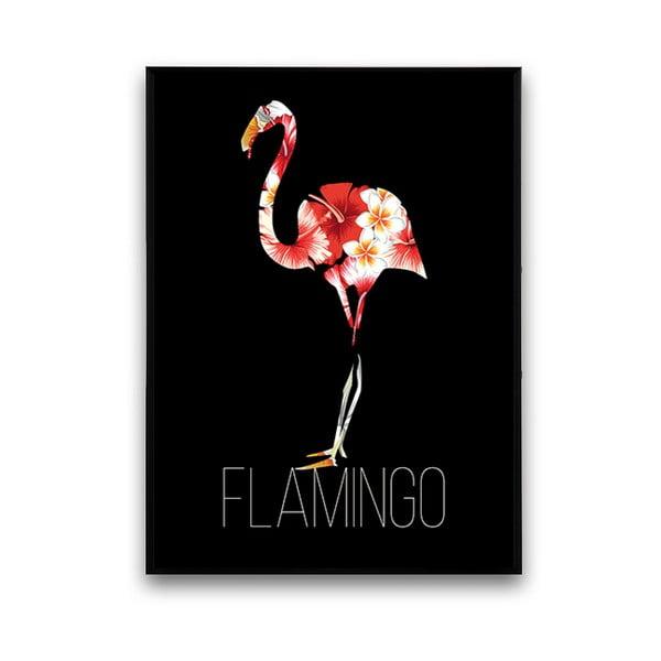 Plagát s plameniakom, čierne pozadie, 30 x 40 cm