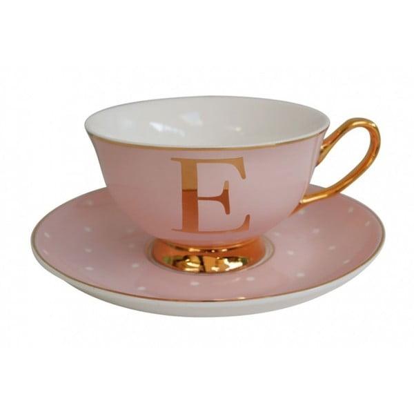 Ružový hrnček s tanierikom s písmenom E Bombay Duck