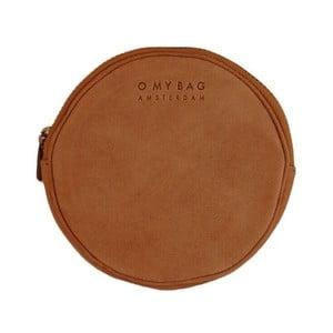 Hnedá kožená okrúhla listová kabelka O My Bag Luna