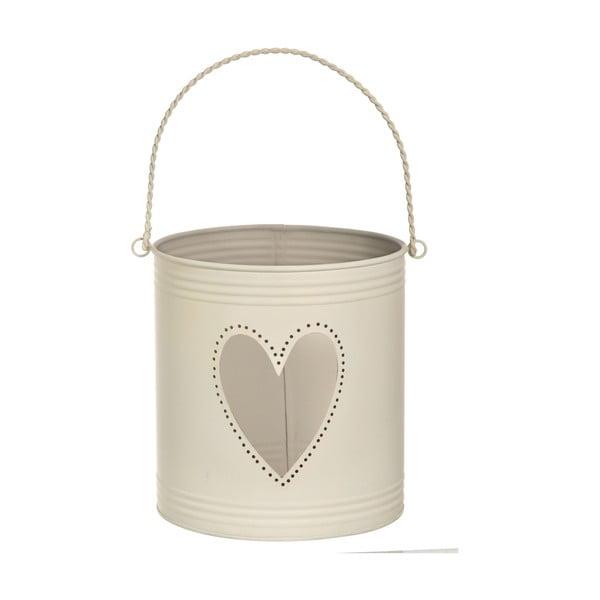 Sada 3 lampášov Heart Candles, krémová