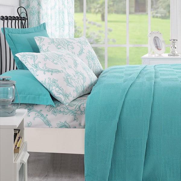 Sada prikrývky na posteľ, plachty a 2 vankúšov Ekolin Mint, 200x235 cm
