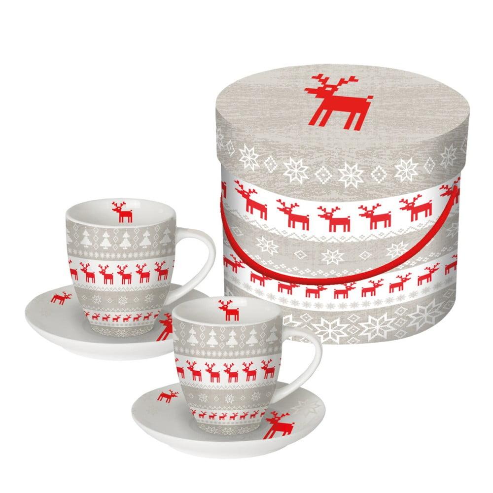 Sada 2 šálok z kostného porcelánu na espresso v darčekovom balení PPD Christmas Magic, 100 ml