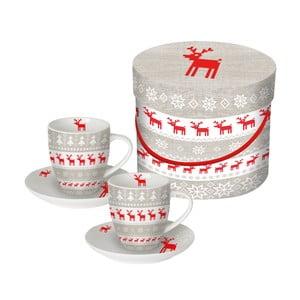 Sada 2 porcelánových šálok na espresso s vianočným motívom v darčekovom balení PPD Christmas Magic, 100 ml