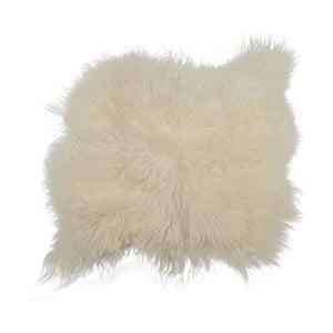 Biely kožušinový koberec s dlhým vlasom Busta, 100 x 90 cm