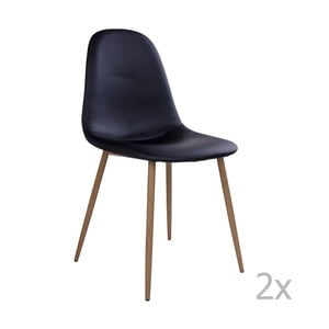 Sada 2 čiernych stoličiek s hnedými nohami House Nordic Stokholm