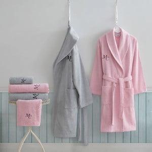Set dámskeho a pánskeho župana, uterákov a osušiek v sivej a ružovej farbe Family Bath
