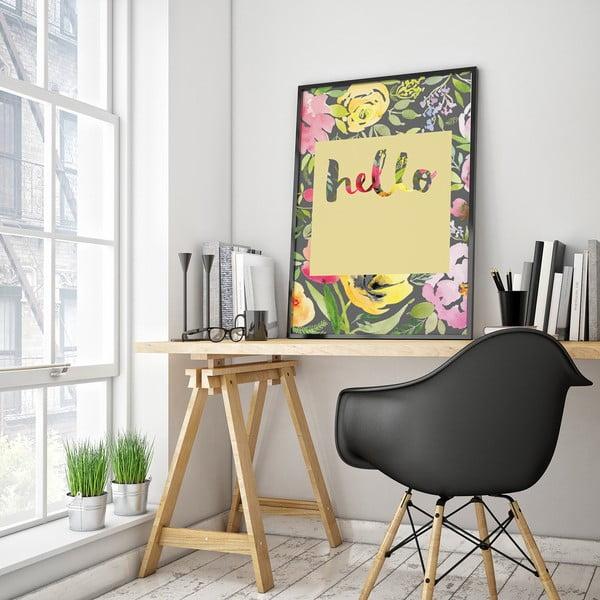 Plagát s kvetmi Hello, žluté pozadie, 30 x 40 cm