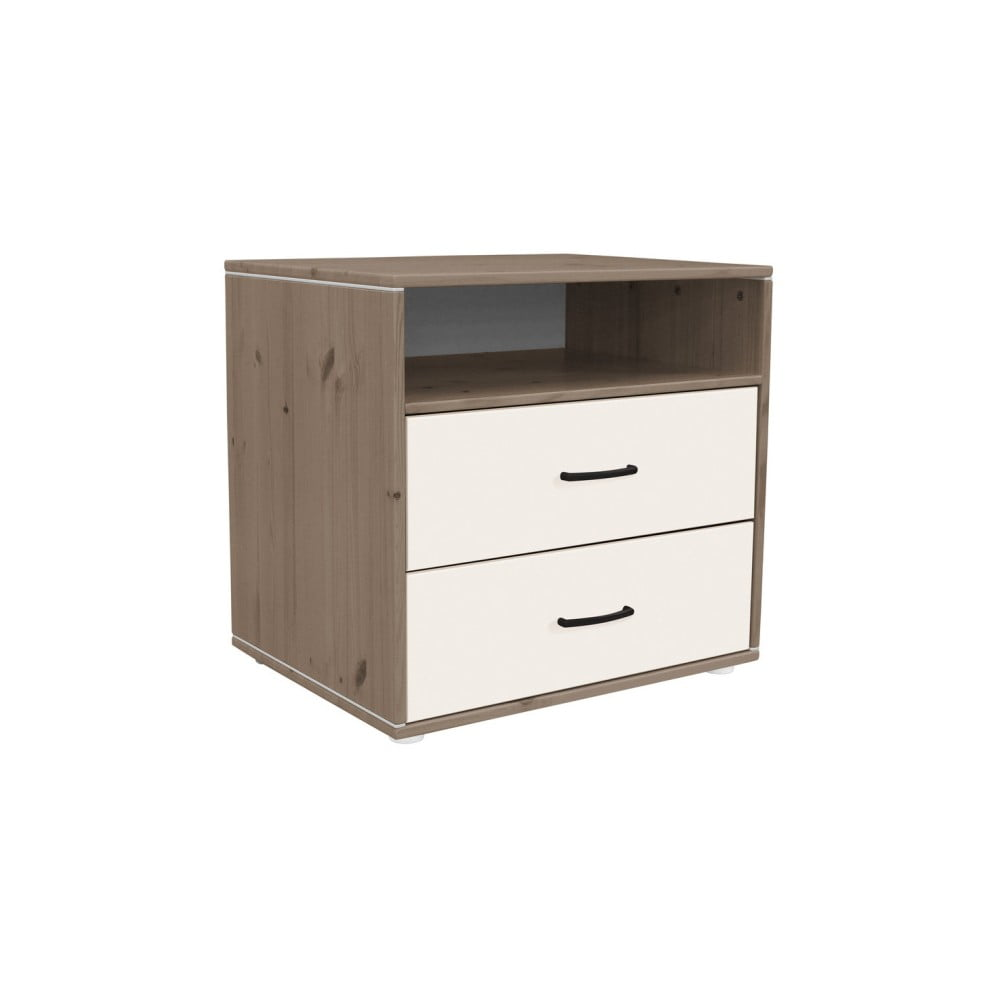 Hnedo-biela detská komoda s 2 zásuvkami z borovicového dreva Flexa Classic