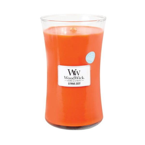 Sviečka s vôňou citrusov a kvetu mandarínky Woodwick, doba horenia 130 hodín