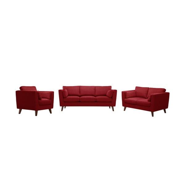 Sada kresla a dvoch pohoviek pre dvoch a pre troch  Elisa, klasická červená