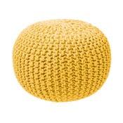 Horčicovožltý pletený puf ZicZac