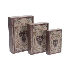 Sada 3 drevených úložných boxov InArt Matchbox, 21 x 30 cm