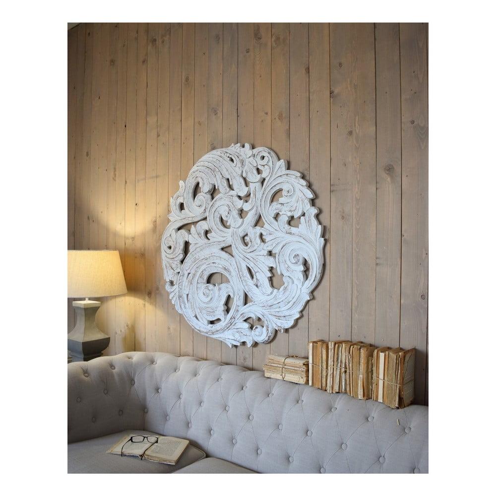Biele nástenné dekorácie z mangového dreva Orchidea Milano Rosone Antique, ø 100 cm