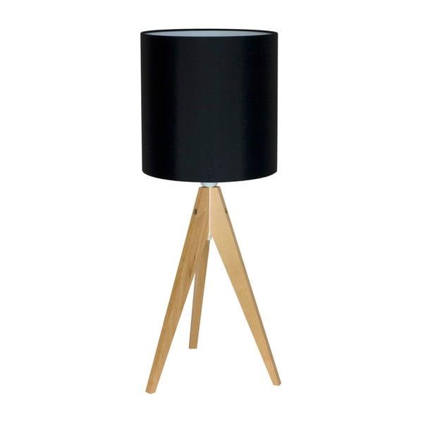 Čierna stolová lampa 4room Artist, breza, Ø 25 cm