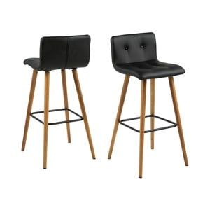 Čierna barová stolička s podnožím z dubového dreva Actona Frida