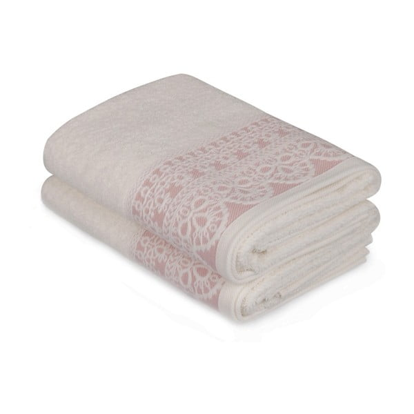 Sada dvoch bielych uterákov s ružovým detailom Romantica, 90 × 50 cm