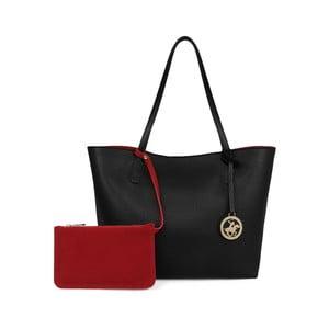 Čierna kabelka s červeným vnútrom Beverly Hills Polo Club Celeste