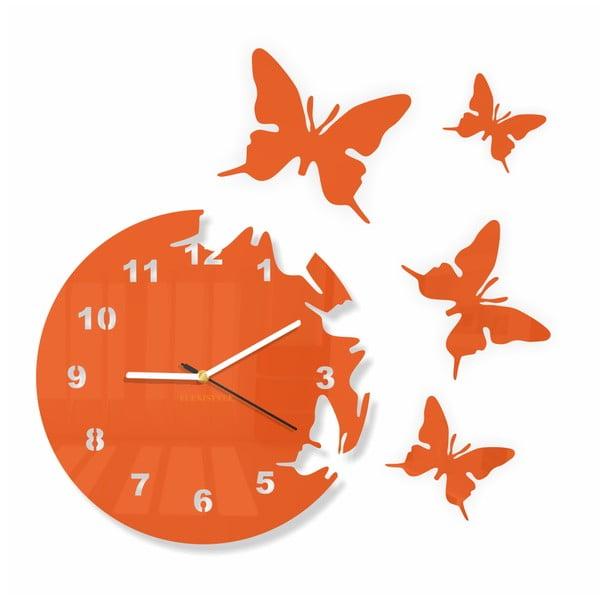 Hodiny z plexiskla Butterfly Orange