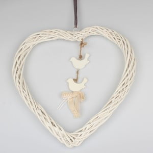 Biela závesná ratanová dekorácia Dakls Heart Big