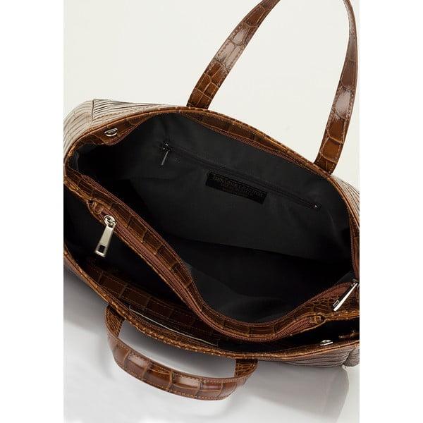 Koňaková hnedá kožená kabelka Lisa Minardi Magnata