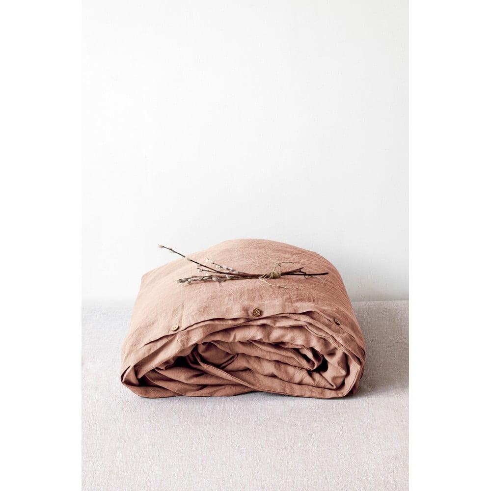 Terakotovohnedá ľanová obliečka na perinu Linen Tales, 200 x 200 cm