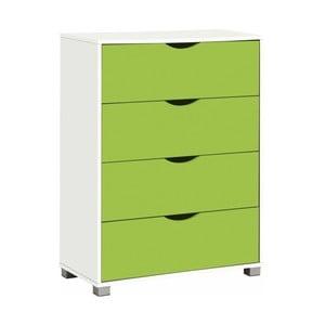 Bielo-zelená komoda so 4 zásuvkami Støraa Nelson