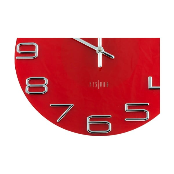 Hodiny Fisura Numbers Red, 30 cm