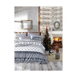 Vianočné bavlnené obliečky na jednolôžko s plachtou Jenn, 160×220 cm