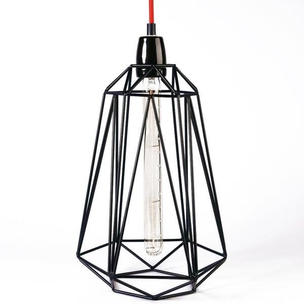 Svetlo s čiernym tienidlom a červeným káblom Filament Style Diamond #3