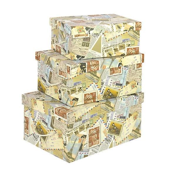 Sada 3 úložných boxov Stamps