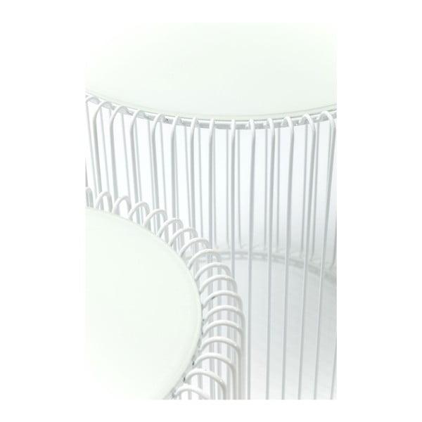 Sada 2 bielych odkladacích stolíkov Kare Design Wire High