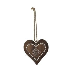 Závesná drevená dekorácia v tvare srdca Antic Line Jane