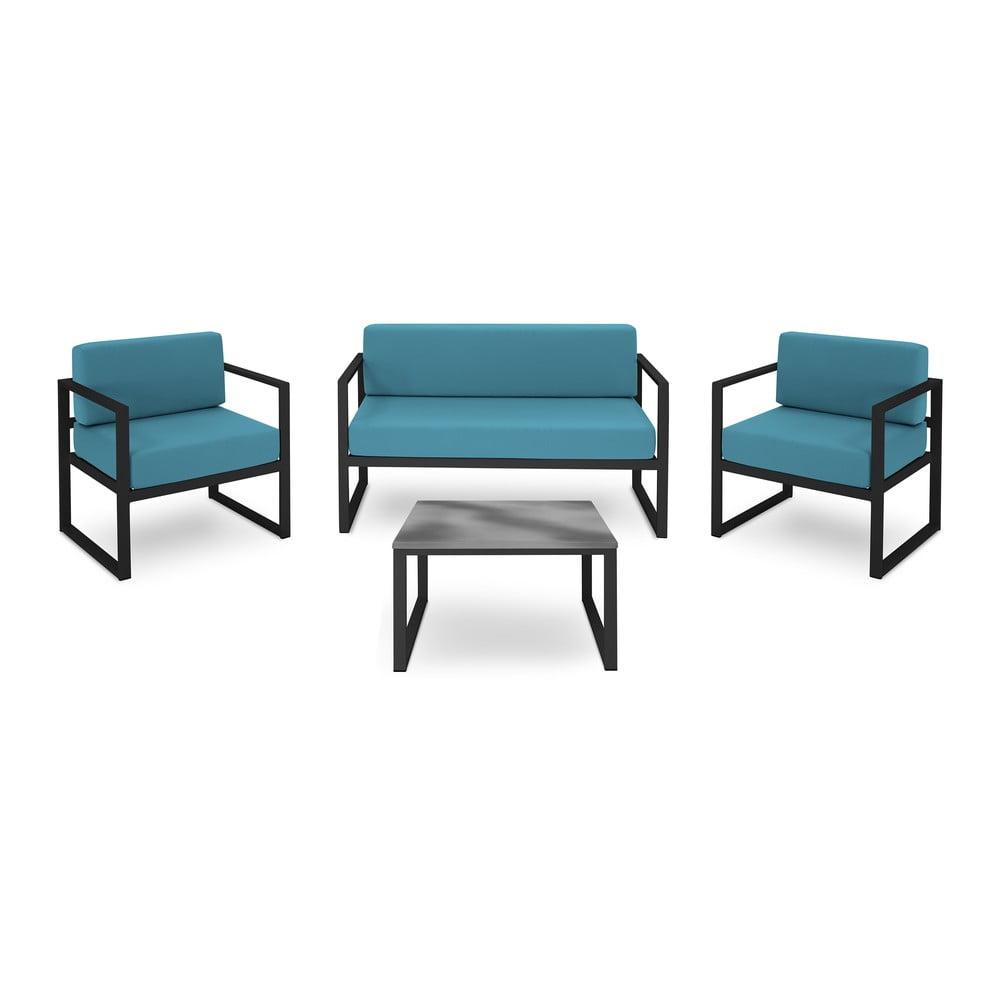 Set záhradného nábytku pre 4 osoby v modrej farbe a v čiernom ráme Calme Jardin Nicea