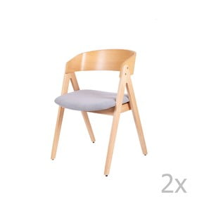 Sada 2 jedálenských stoličiek z kaučukovníkového dreva so sivým podsedákom sømcasa Rina
