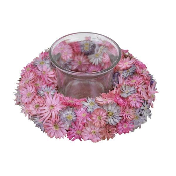 Ružový svietnik z kvetov Ego Dekor, ⌀12 cm