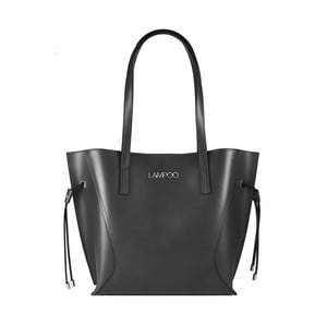 Tmavosivá kožená kabelka Lampoo Tuko