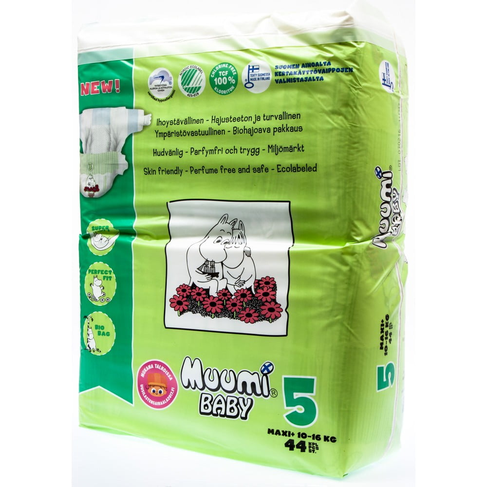 Detské plienky Muumi Baby Maxi, veľ. 5, 44 kusov