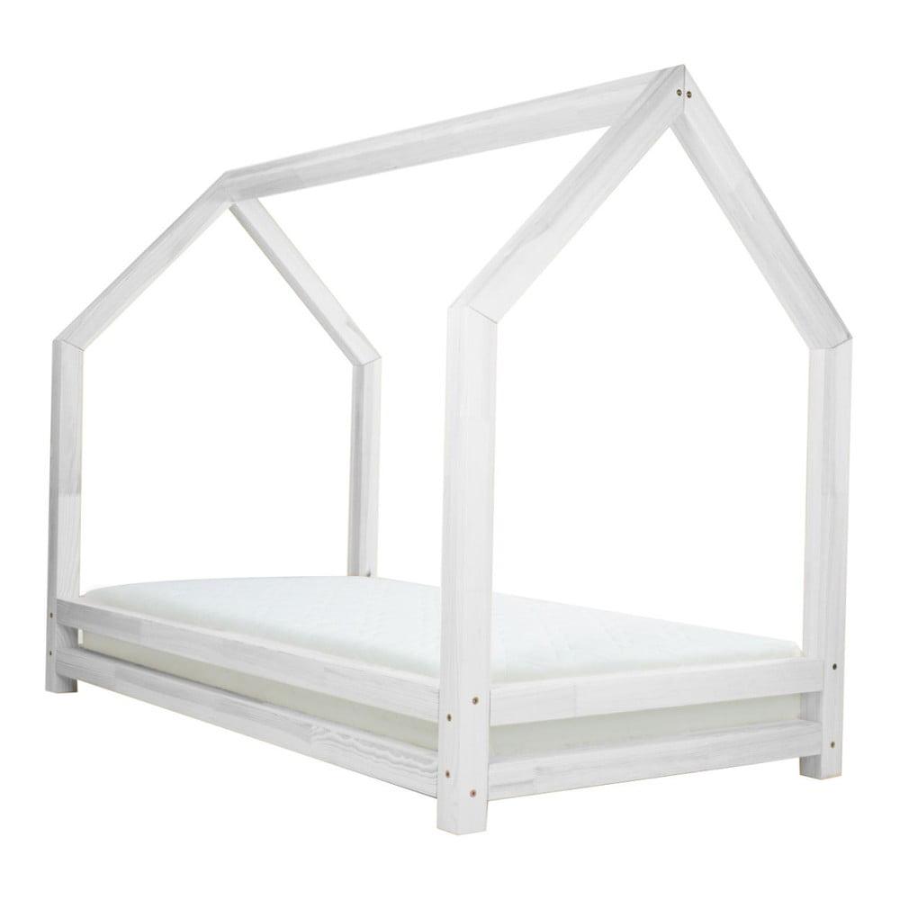 Biela jednolôžková posteľ z borovicového dreva Benlemi Funny, 80 × 160 cm