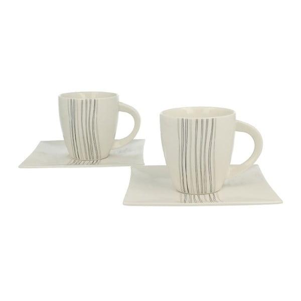 Set 2 porcelánových hrnčekov s tanierikmi Silver Line