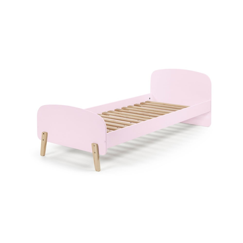 Ružový rám detskej postele z masívneho borovicového dreva Vipack Kiddy, 200 × 90 cm