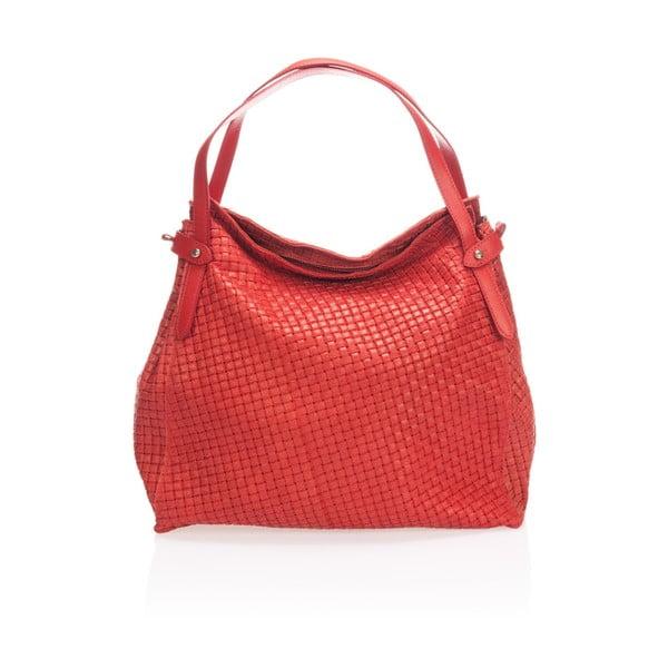 Červená kožená kabelka Markese Giacinto
