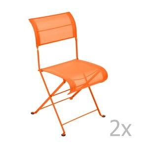 Sada 2 oranžových skladacích stoličiek Fermob Dune