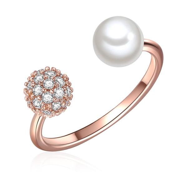 Prsteň vo farbe ružového zlata s bielou perlou Perldesse Perle, veľ. 54