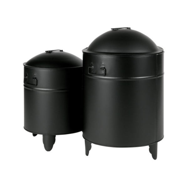 Sada 2 čiernych úložných boxov z kovu WOOOD