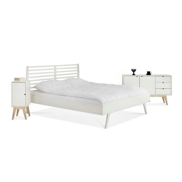 Biela ručne vyrobená posteľ z masívneho brezového dreva Kiteen Notte, 160 × 200 cm