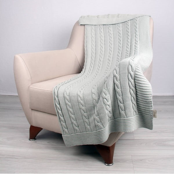 Mentolovomodrá bavlnená deka Carla