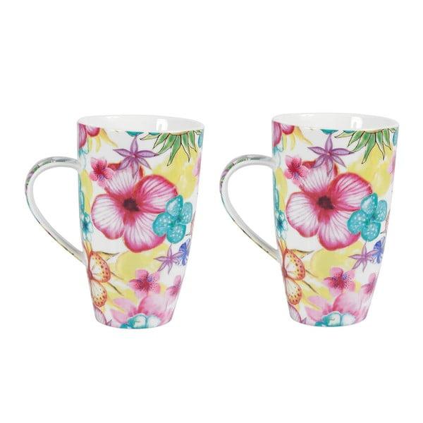 Sada 2 porcelánových hrnčekov Blooming, 600 ml