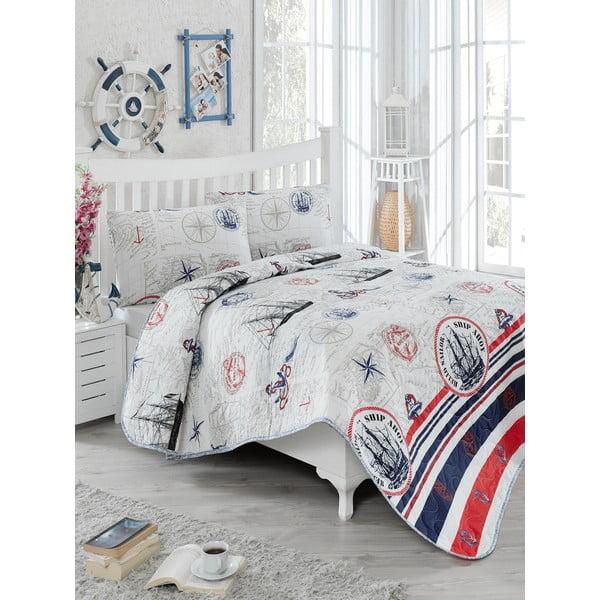 Prešívaný pléd cez posteľ s 2 obliečkami na vankúše Fairway, 200×220cm