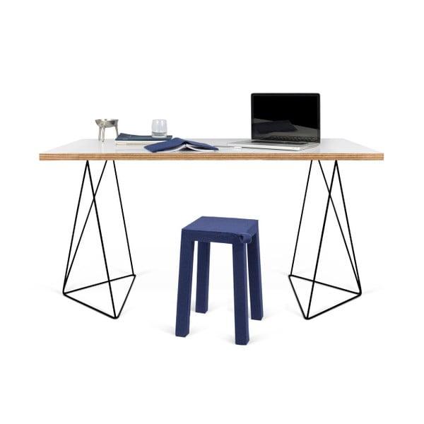 Biely pracovný stôl s čiernymi nohami TemaHome Flow, dĺžka 140cm